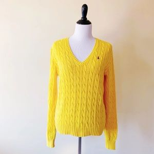 Womens VNeck Cable Knit Sweater by Ralph Lauren